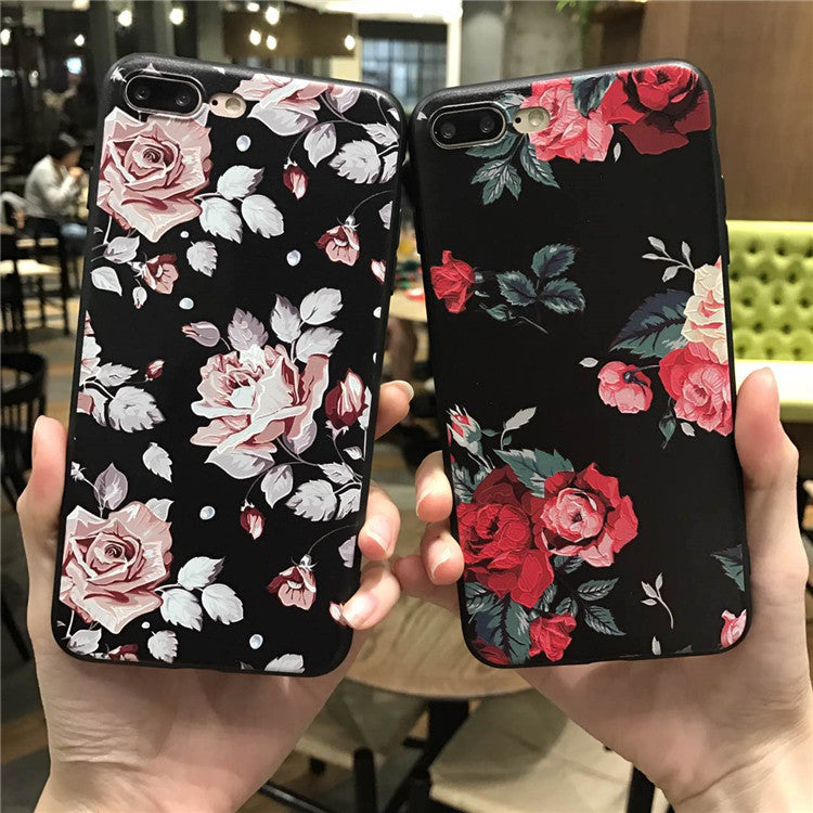 Pink White Rose Flower Silicone Full Body Case for iPhone 8 7 6 6s 5 5s Case soft Phone Cases Back Cover for 7 6 plus Capa Coque