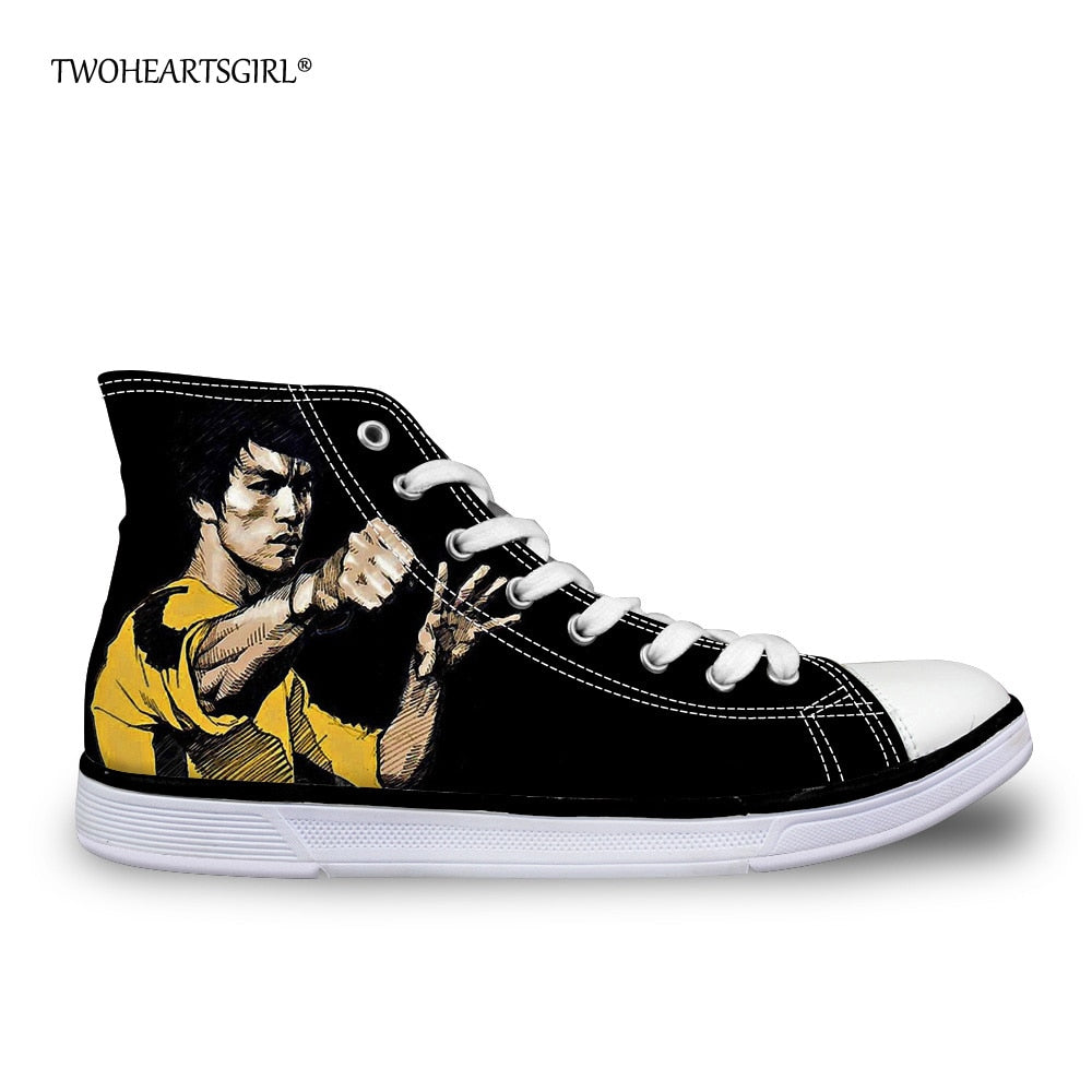 Twoheartsgirl Cool Printing Bruce Lee High Top Canvas Shoes Classic Men's Vulcanize Shoes Leisure Lace Up Canvas Shoes Comfort