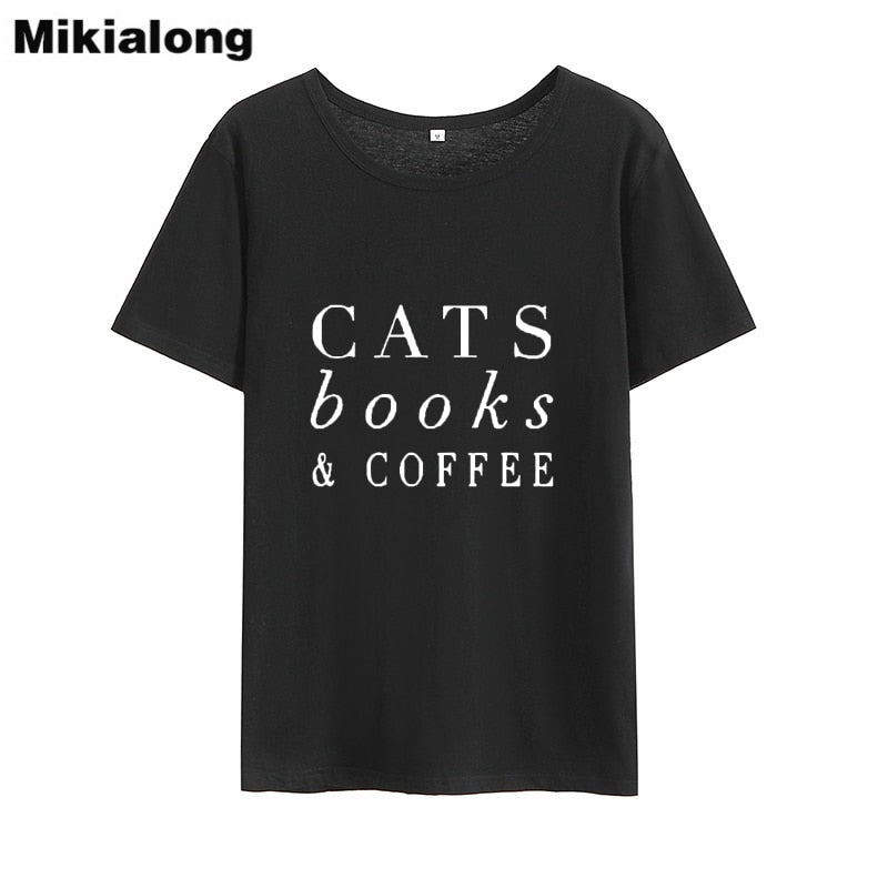 MIkialong Cats Book Coffee Harajuku Tee Shirt Femme 2018 100%cotton Loose Tshirt Women Black White Tumblr T Shirt Women Tops