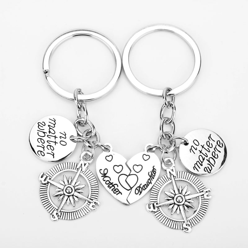 MQCHUN No Matter Where Heart Mother Daughter Compass Heart Key Chain Gifts For Family Jewelry Charm Keychain Women Girls Keyring