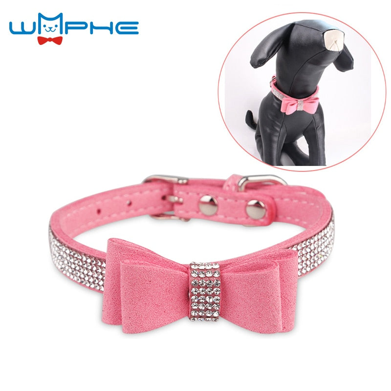 7 Colors Full Rhinestone Soft Seude Leather Dog Collar Bling Padded Bow Knot Puppy Cat Pet Collar For Small Medium Breeds XS S