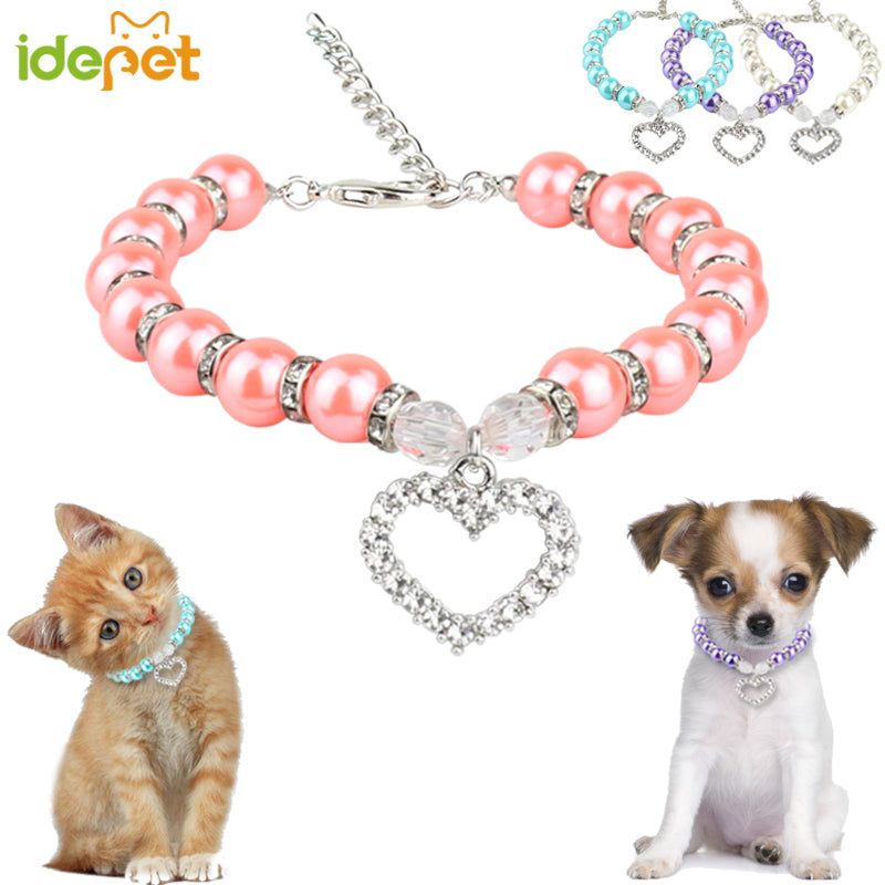 Fashion Pet Dog Accessories Pearl Necklace Dog Supplies Love Pendant Pet Products Puppy Dog Cats Collar & Ldads Jewelry 30 S1