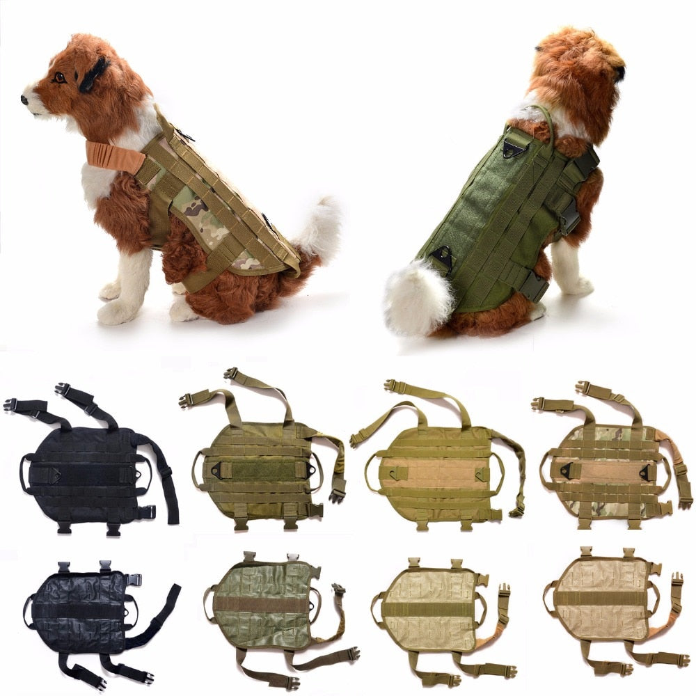 Tactical Military K9 MOLLE Service Dog Harness Police German Shepherd Vest Camo Khaki Black Dog Tactical Equipment Clothes