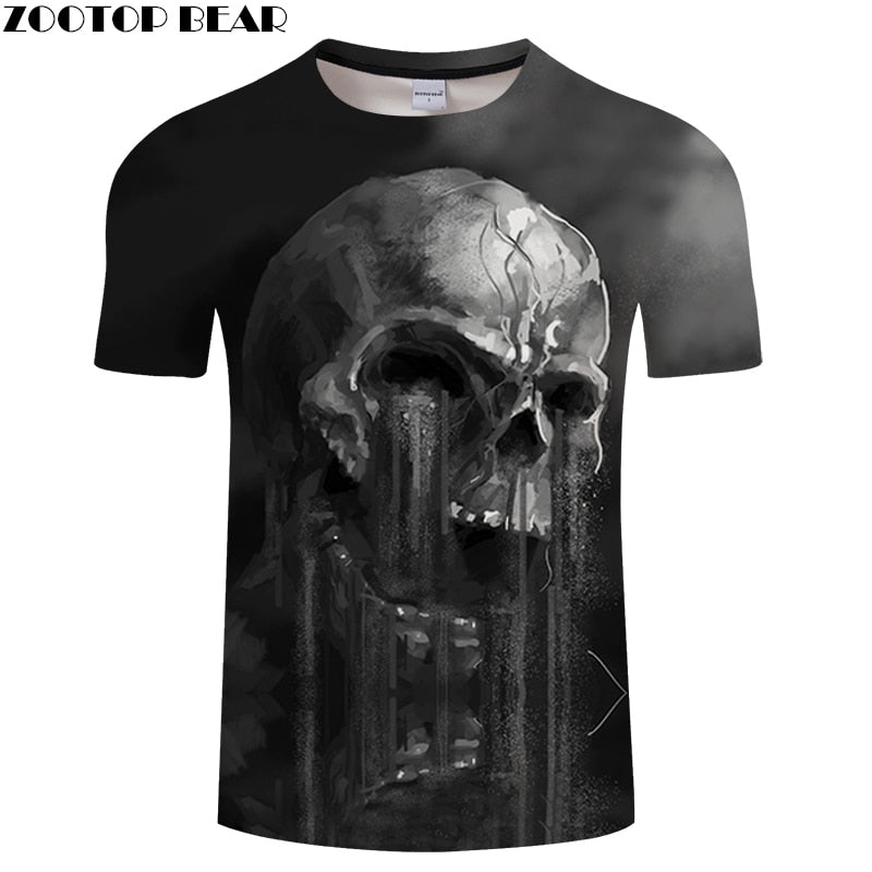 FLowing 3D Skull T shirt Men t-shirt Summer tshirt Women Tees Funny Tops Streatwear Camiseta Short Sleeve DropShip ZOOTOPBEAR