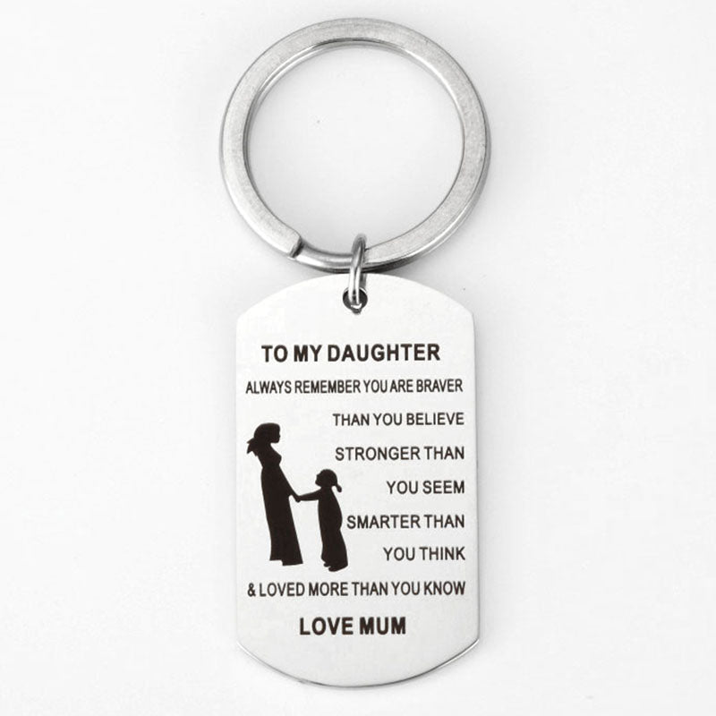 My daughter Label Stainless Steel Dog Collar Mother daughter Keyring  Dog Tag keychain To my daughter gifts