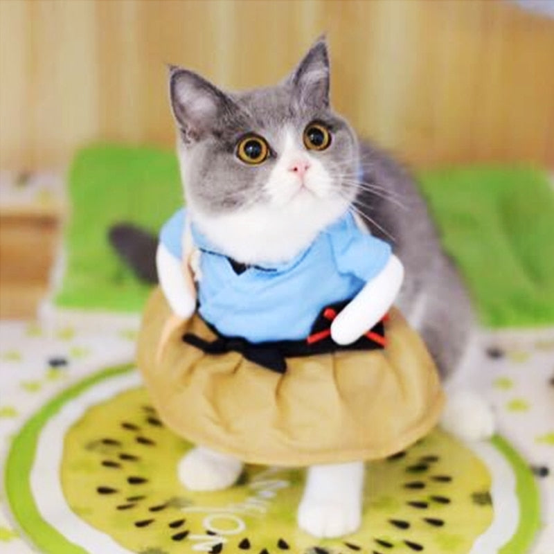 Cat Cosplay Clothes Funny Cat Costume Uniform Suit Cat Clothes Costume Puppy Dressing Up Suit Party Clothing For Cat 20S2