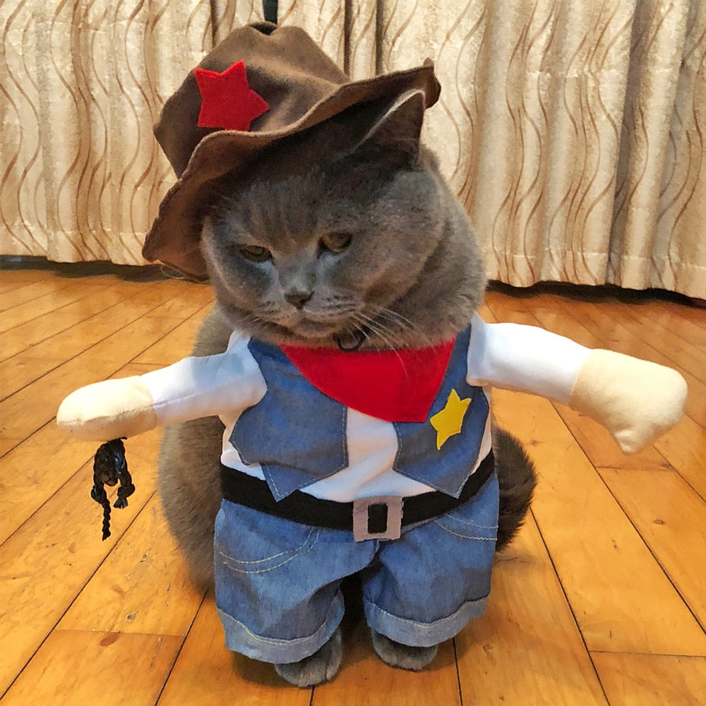 Puppy Cat Clothes Costumes Funny Cats Small Dogs Kitten Cowboy Cosplay Clothing Pet Party Apparel Party Dress Up Suit