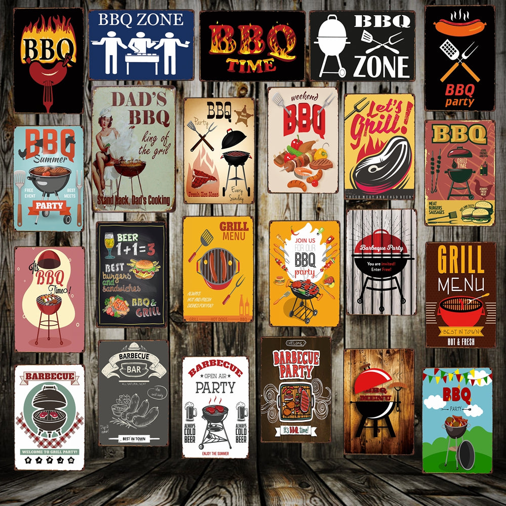 [ Mike86 ] BBQ ZONE Grill DADS BARBECUE TIME Metal Signs Antique Pub Room Hotel Party Decor Retro Wall Painting Plaque  FG-223