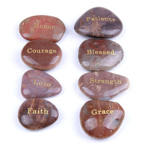 8pcs Natural River Stone Energy Power Inspirational Words Carved Lettering Home Decoration Stones Irregular Shape Wholesale