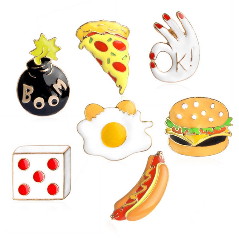 Food Hamburgers hot dog unicorn metal brooch button pins denim jacket pin jewelry decoration badge for clothes lapel pins