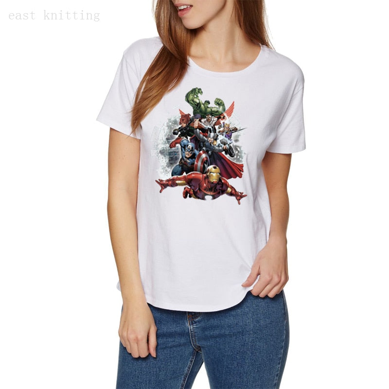 WT0296 Women Round Neck Tops Avengers Attack Graphic Summer T Shirt