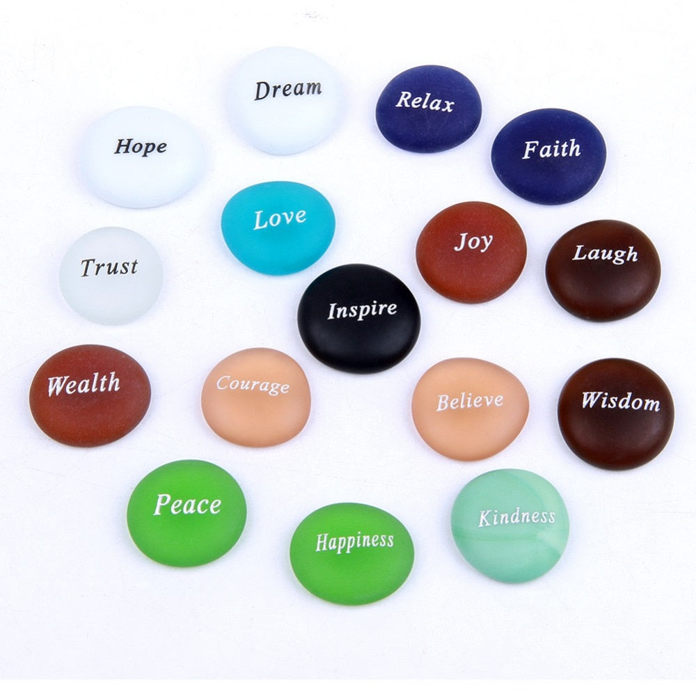 Frosted Glass Tumbled Stones Set Caved Inspire Words Reiki Healing Feng Shui Crafts Home Decoration 16pcs Mixed