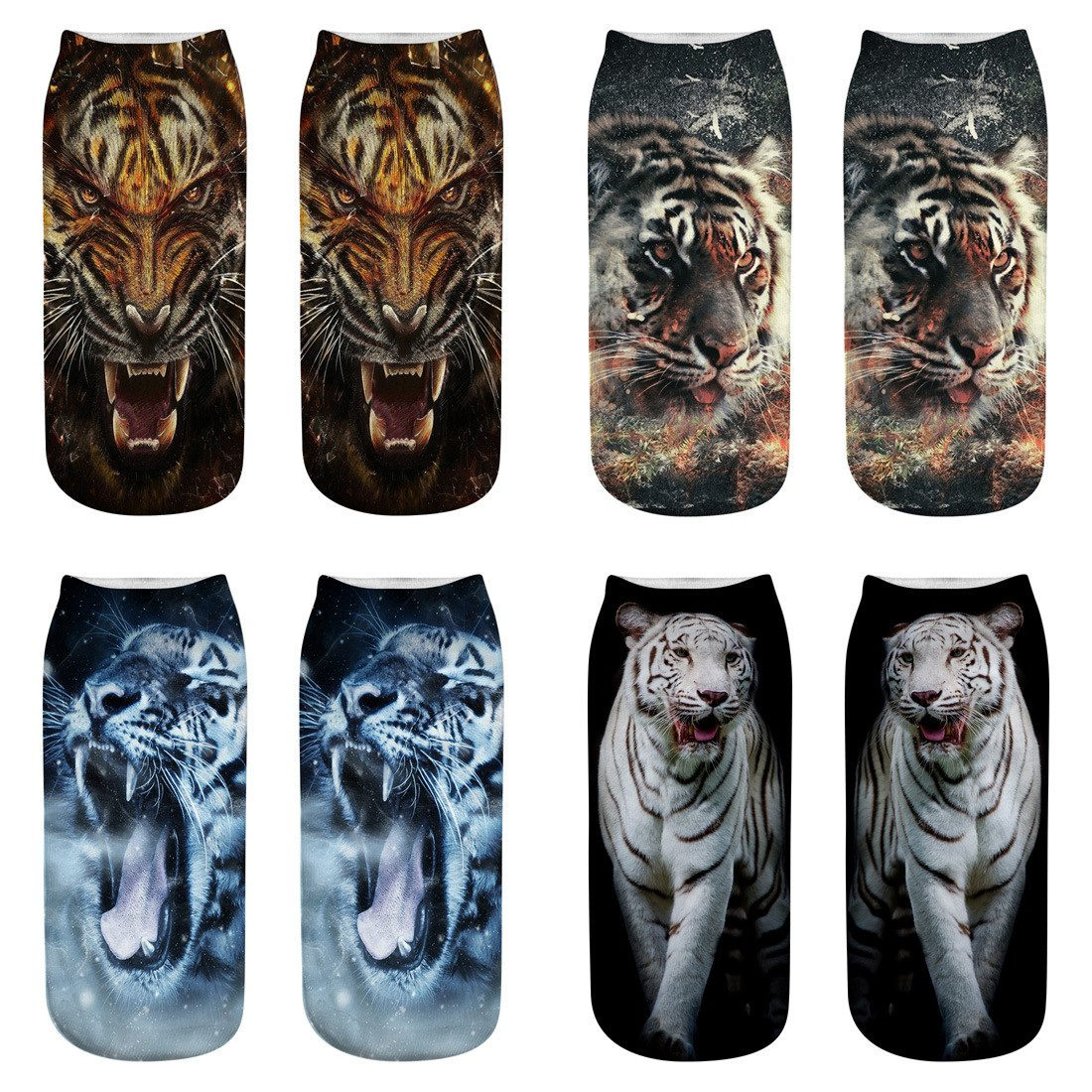2018 Newest 3D Prints Animal Socks Fashion Tiger Art Picture Women Socks Colorful Cotton Socks Women
