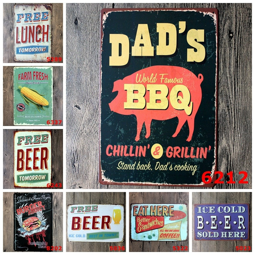 20X30 cm/ DAD'S BBQ barbecue cold beer sandwiches antique retro metal tin signs Iron painting craft vintage home wall decoration