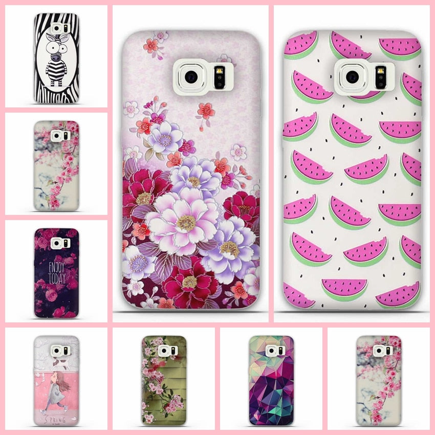 Case For Samsung Galaxy S6 Edge Case 3D Painted Silicone Phone Back Cover For Samsung S6 Edge G9250 Cell Phone Back Cover Case