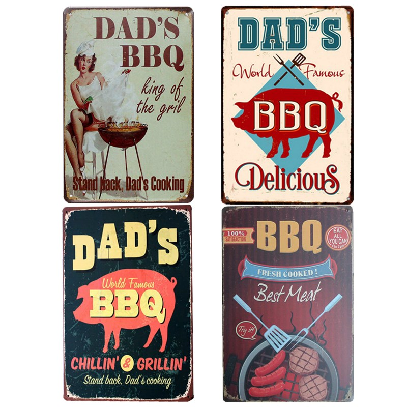 BBQ Sign Hot Dogs Poster Barbecue Decoration Plaque Metal Vintage Coffee Bar Club Garage Decorative Home Decor 20x30 cm
