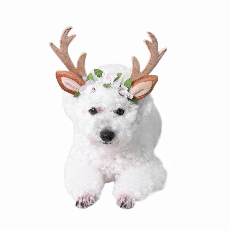 Adjustable Polyester Antler Hair Band Cute Dog Cat Deer Headwear for Christmas Pet Decor Supplies Halloween Cosplay Headwear
