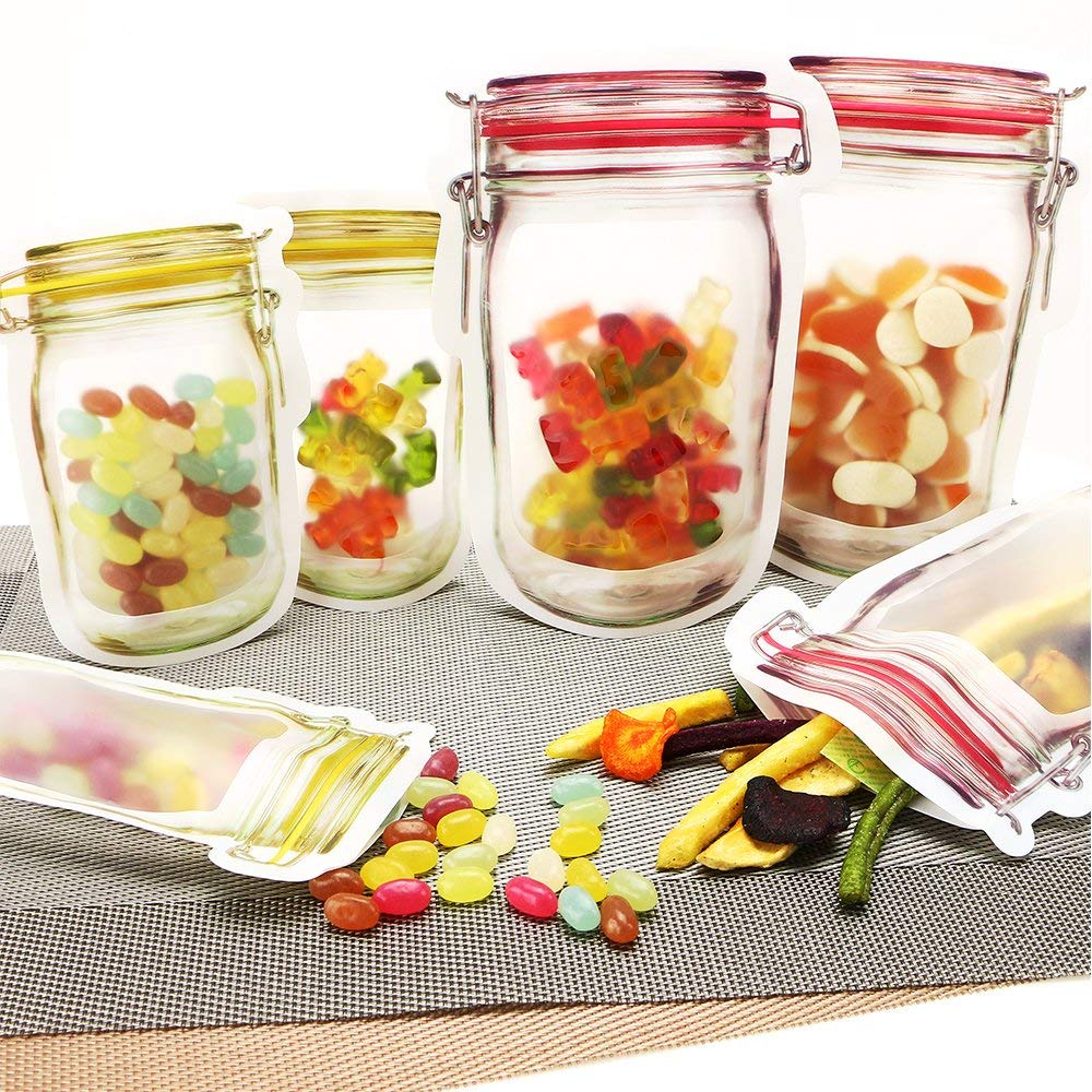 Reusable Food Storage Zipper Bags Mason Jar Shape Snacks Airtight Seal Food Saver Leak-proof Bags Kitchen Organizer Bags