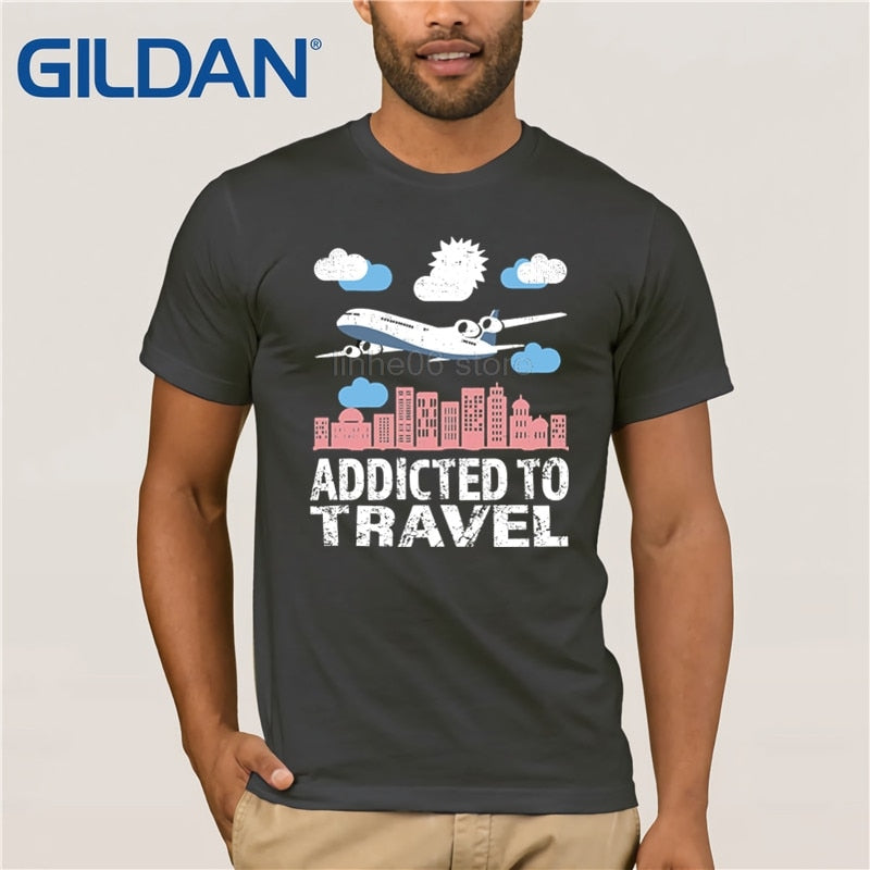 GILDAN Addicted to Travel Tshirt Tourist Vacation Fly Passenger