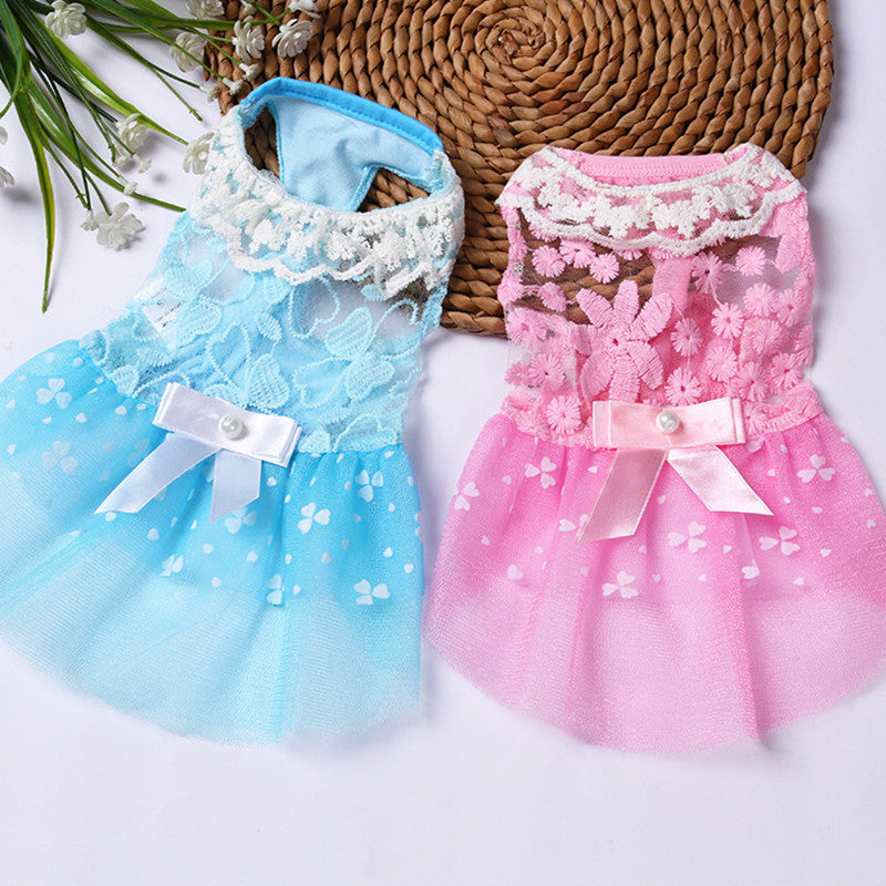 Dog dresses for small dogs Pet dog clothes lace bow summer dress pet clothes  Princess puppy dress for party wedding
