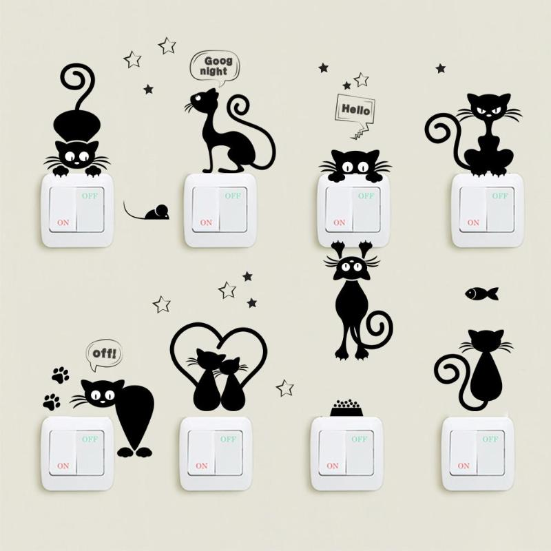 Cute Cat Light Switch Wall Stickers for Kids Rooms DIY Home Decoration Art Cartoon Animals Wallpaper Decals Pvc Phone Sticker