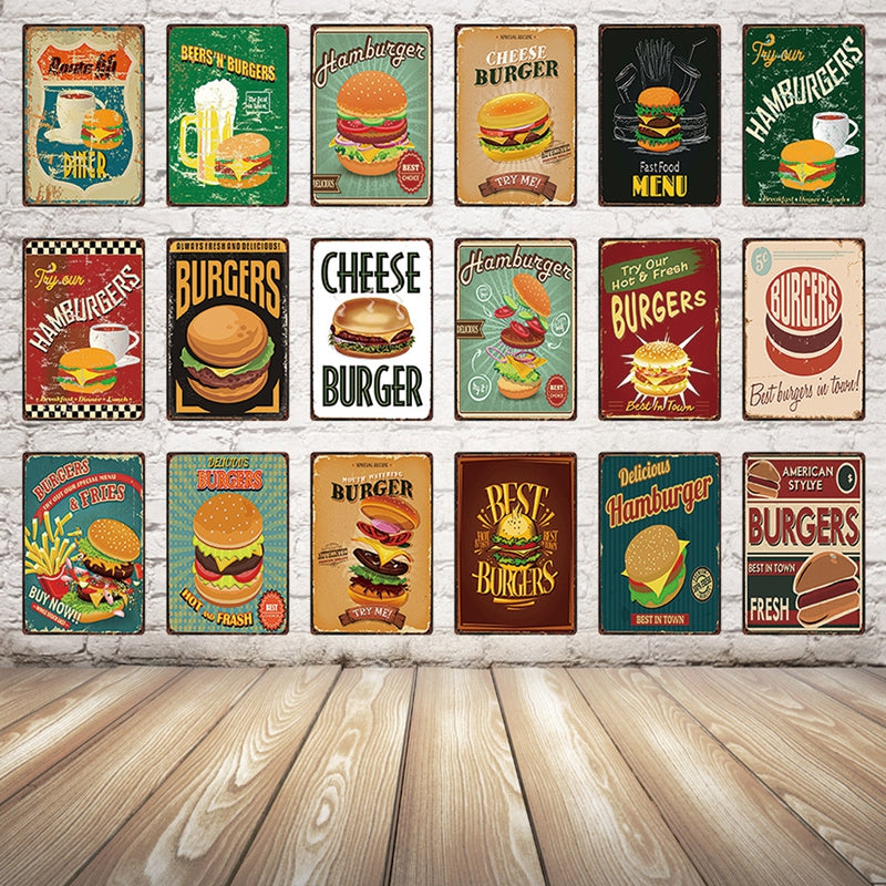 [ Kelly66 ] Hamburger Food Metal Sign Tin Poster Shop Kitchen Decor Bar Wall Art Painting 20*30 CM Size Dy29