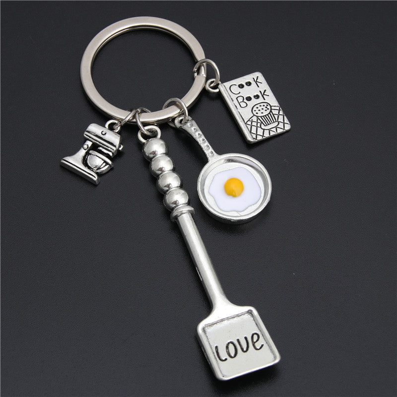 1pc Baking Charms Egg Fry Cooking Utensils Keychains Love Shovel Cookbook Key Ring Pastry Chef Foodie Baker Gift