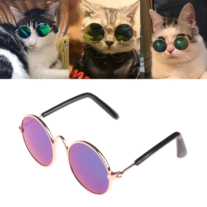 Glasses Small Pet Sunglasses Eye-wear Protection Cool Glasses Photos Props color randomly Cosplay For Cats