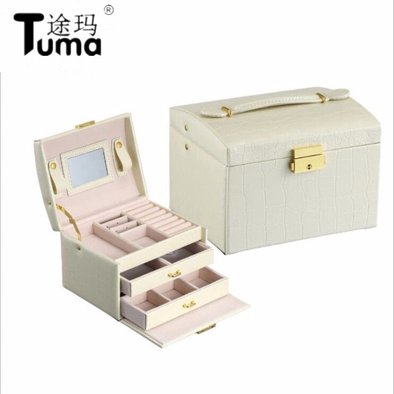 Princess-style Jewelry Box Leather Jewelry Box Cosmetic Box Jewel Case Upscale Jewelry Organizer Birthday Gift Wedding Gift