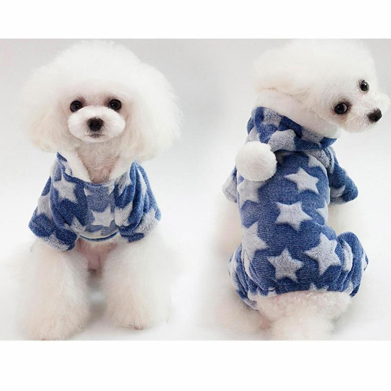 Pet Dog Warm Star Clothes Soft Cotton Jumpsuits Leisure Costume Star Pattern Dog Clothes Soft Warm Dog Puppy Coat