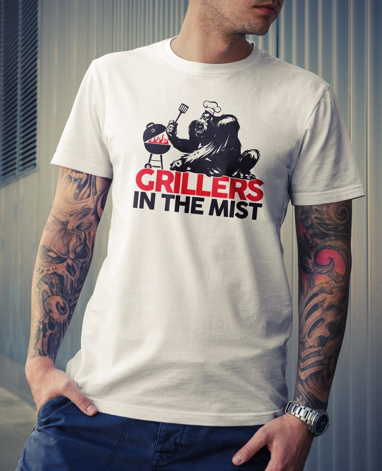 Grillers In The Mist T-Shirt - Joke Funny Novelty Movie Gorilla Gift Dad BBQ Fun Cool Casual pride t shirt men Unisex New tshirt