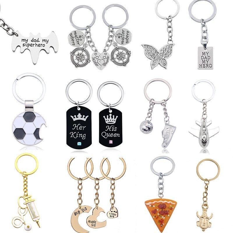 Trendy Couple Keychain Dad Mother Heart Puzzle Key Chain Holder Crown Pizza Best Friends Bff Keyring Women Men Jewelry Chaveiro