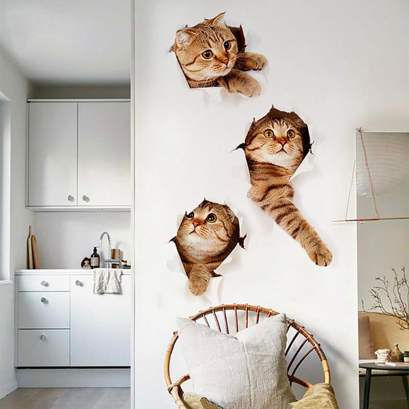 3D Cats Wall Sticker Toilet Stickers Hole View Vivid Dogs Bathroom Home Decoration Animal Vinyl Decals Art Sticker Wall Poster