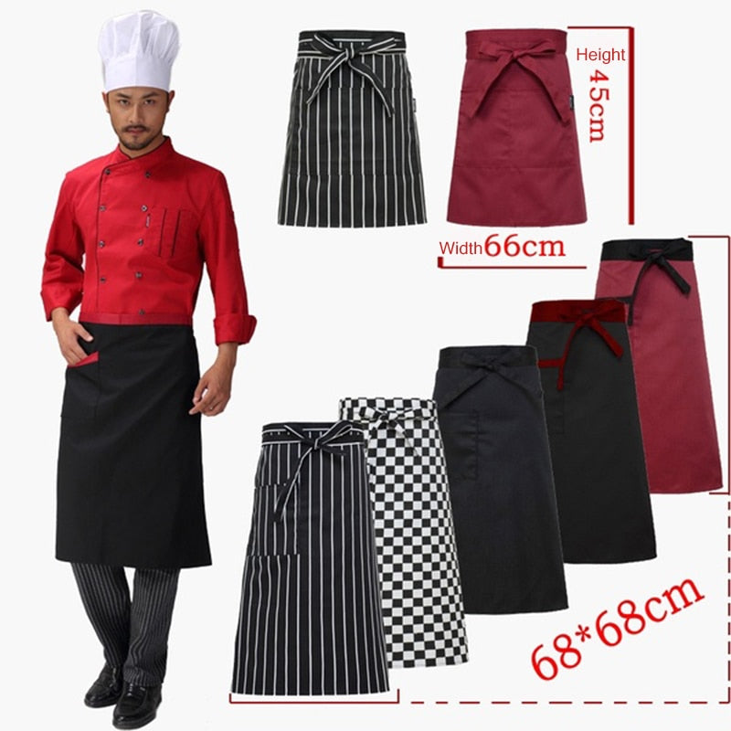 Unisex Waiter Dress Fashion Apron Baking Dress Half Apron Chef Clothing Pockets Men Women Chef Uniform Kitchen Dress Apron