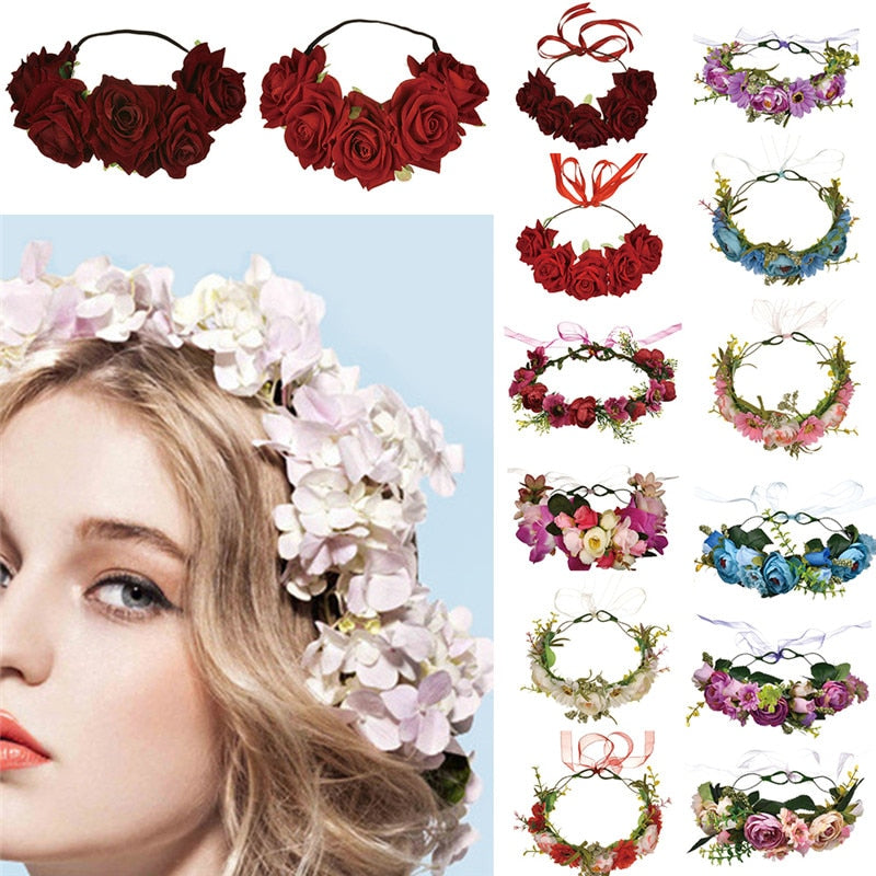 Flower Hair Band Handmade Flower Crown Hair Wreath Halo Garland Headpiece with Ribbon Festival Wedding Party Women  #289410