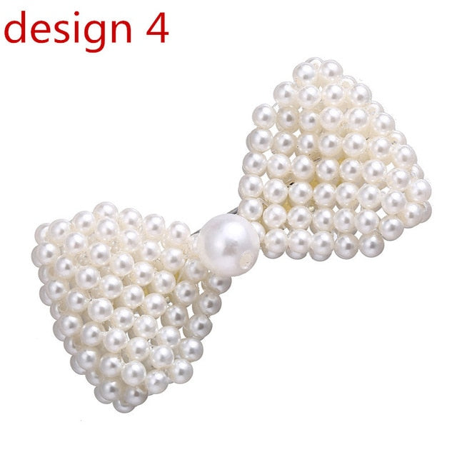17KM Fashion Simulated-pearl Hair Clips For Women Silver Snap Cute Bowknot Hairpins Romantic Wedding Female Hair Jewelry Gifts