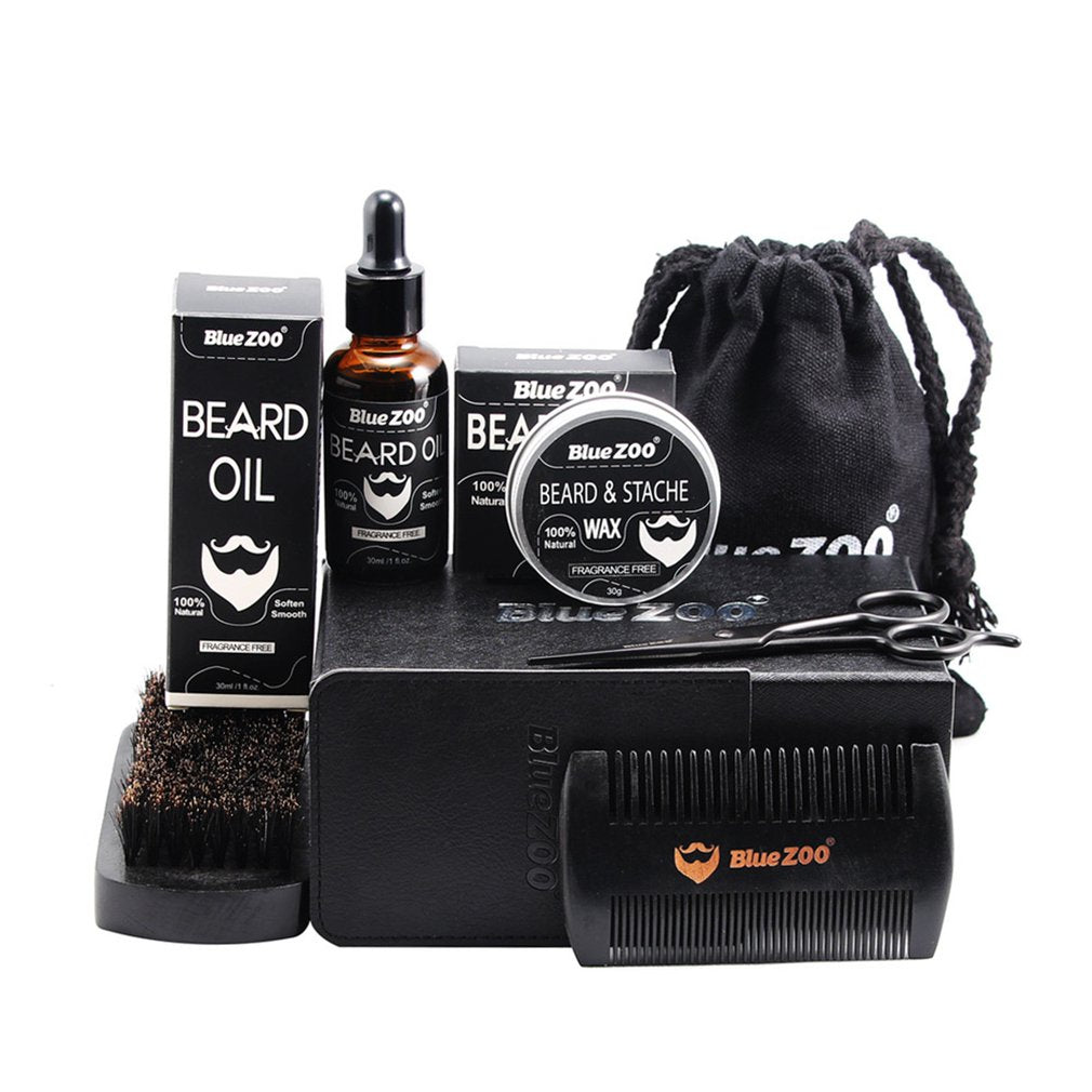 Black Bluezoo Beard Set Beard Oil Beard Wax Double Side Comb Brush Bag Small Scissors 7 Piece Set