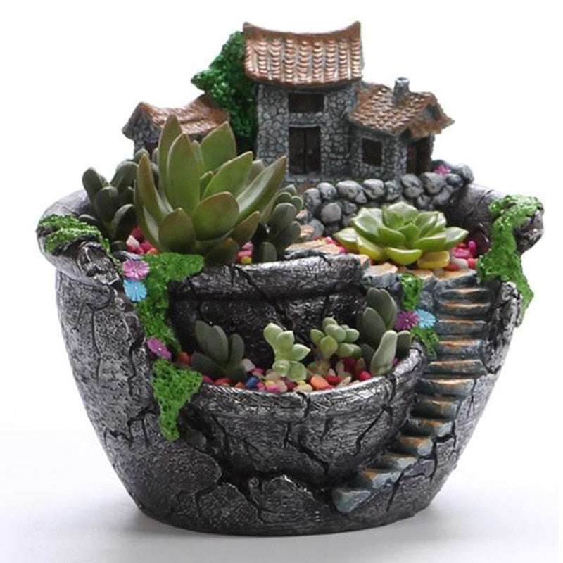 Succulent Plants Planter Flowerpot Resin Flower Pot Desktop Potted Holder Groot Home Garden Decoration Plants Holder
