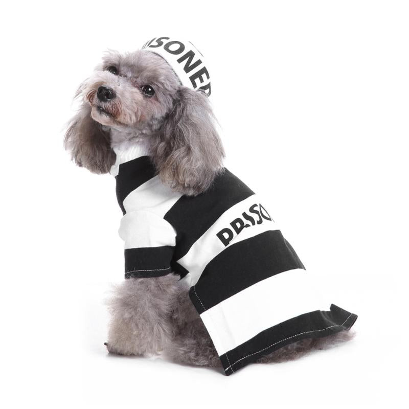 Dog Clothes Cute Pet Dog Puppy Prisoner Cosplay Costume Coat Autumn Winter Soft Warm Breathable Suit Pet Supplies