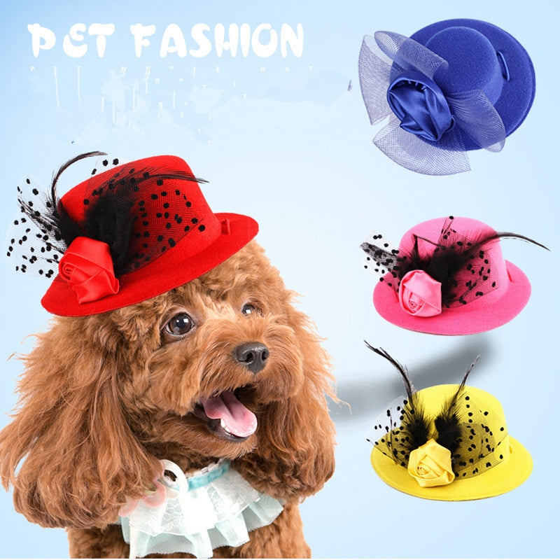 Multicolor pet dog hats aristocratic ladies cap hats Dogs gentleman headwear for dressing up dog cat cosplay accessorries
