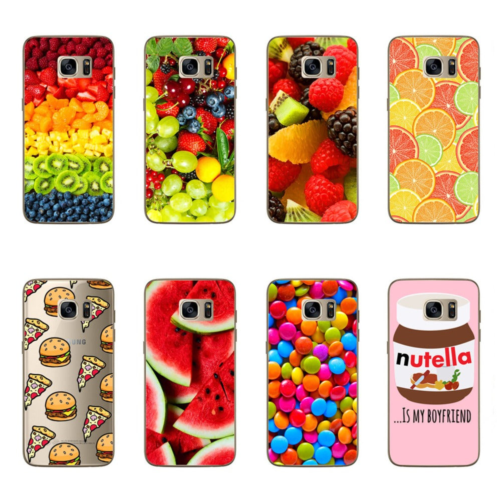 For Samsung Galaxy S7 Luxury Phone Case Fruit Hamburger Food Design Soft Silicone Covers For Samsung S7 Phone Bag Funda Coque
