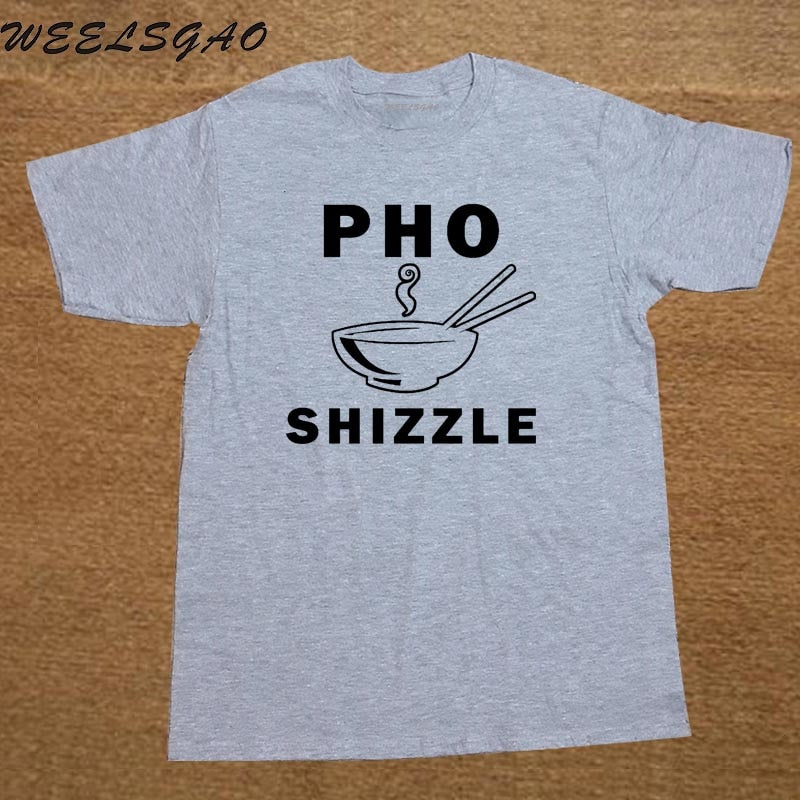 Tops Novelty Men Crew Neck Short Sleeve Pho Shizzle Funny Chef Foodie Vegan Vegetarian Pun Tee Shirts