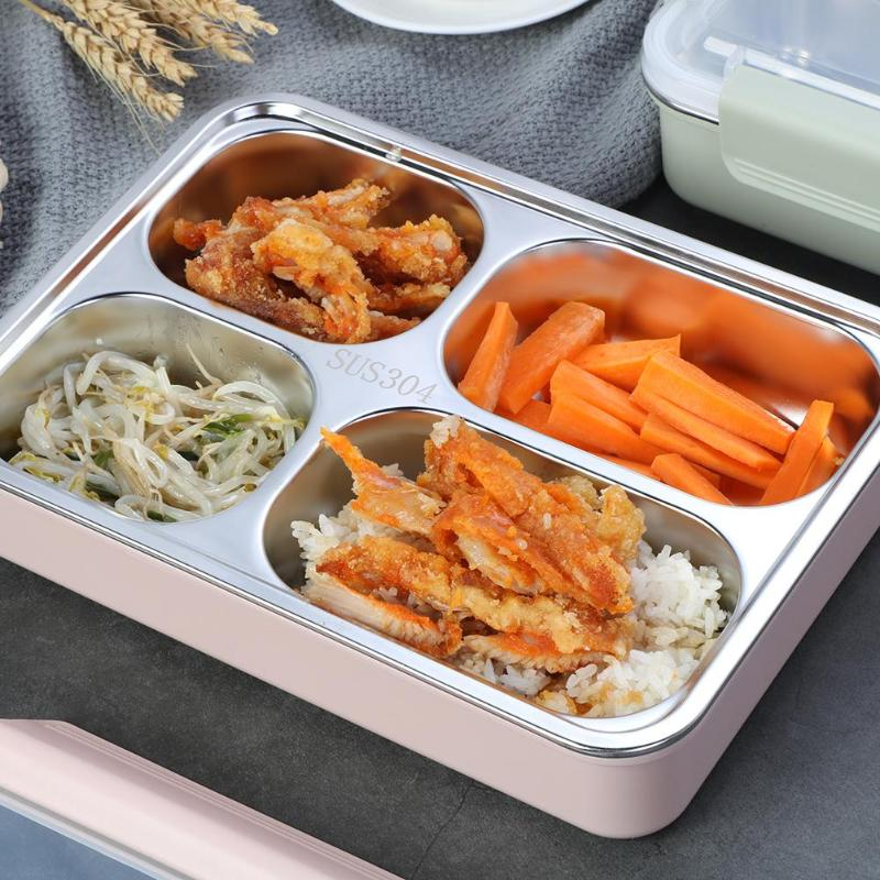 Portable Stainless Steel Lunch Box Thicken Rice Food Container Warmer Thermal Case Bento Dinnerware with Compartments
