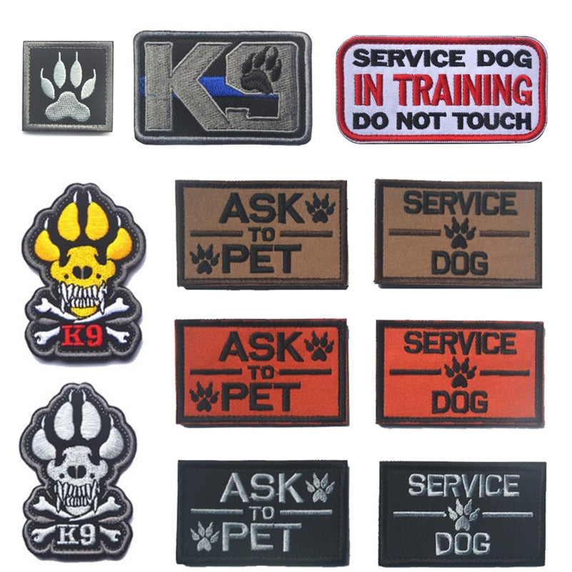 Embroidery Patch K9 ASK TO PET SERVICE DOG Tactical 3D Army Morale Patch Emblem Military Embroidered Patches Badge For Clothes