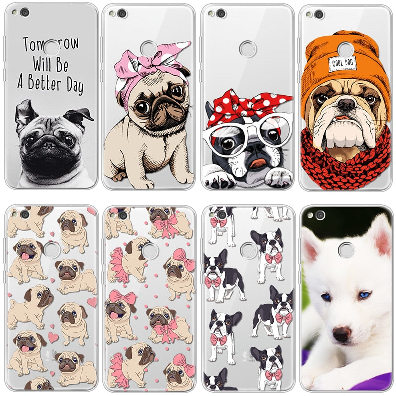 Bulldog Headband for Huawei P8 P9 P10 Plus P20 Mate S 10 Lite Honor 7A Pro Mini Y6 2017 Y7 G8 P Smart Nexus 6p nova 3i  TPU Case