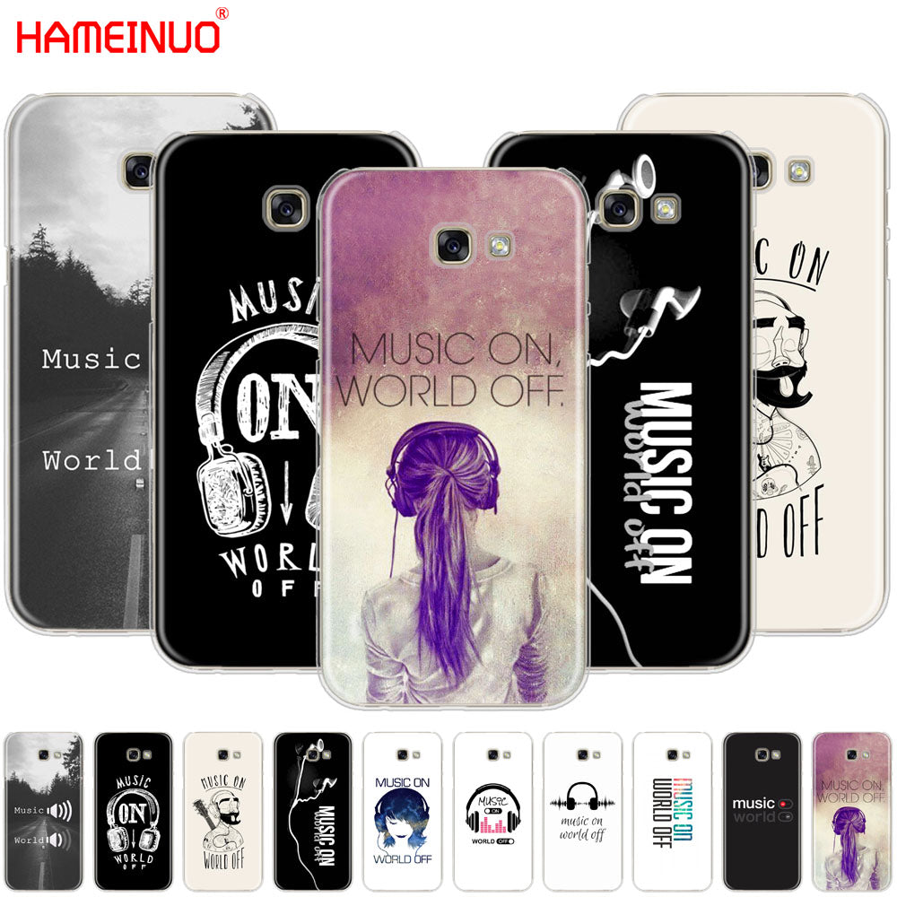 HAMEINUO music on world off Print cell phone case cover for Samsung Galaxy A3 A310 A5 A510 A7 A8 A9 2016 2017 2018