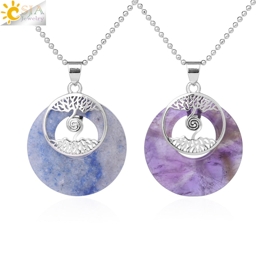 CSJA Two Tree of Life Necklaces Pendants Natural Round Gem Stone Unakite Tiger Eye White Purple Crystal Reiki Jewelry Lady F835