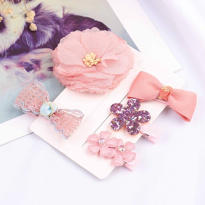 1set Cartoon Flowers Bowknot Hairpins Children Lace Hair Clips Kids Girls Handmade Bling Barrettes Accessories Headwear