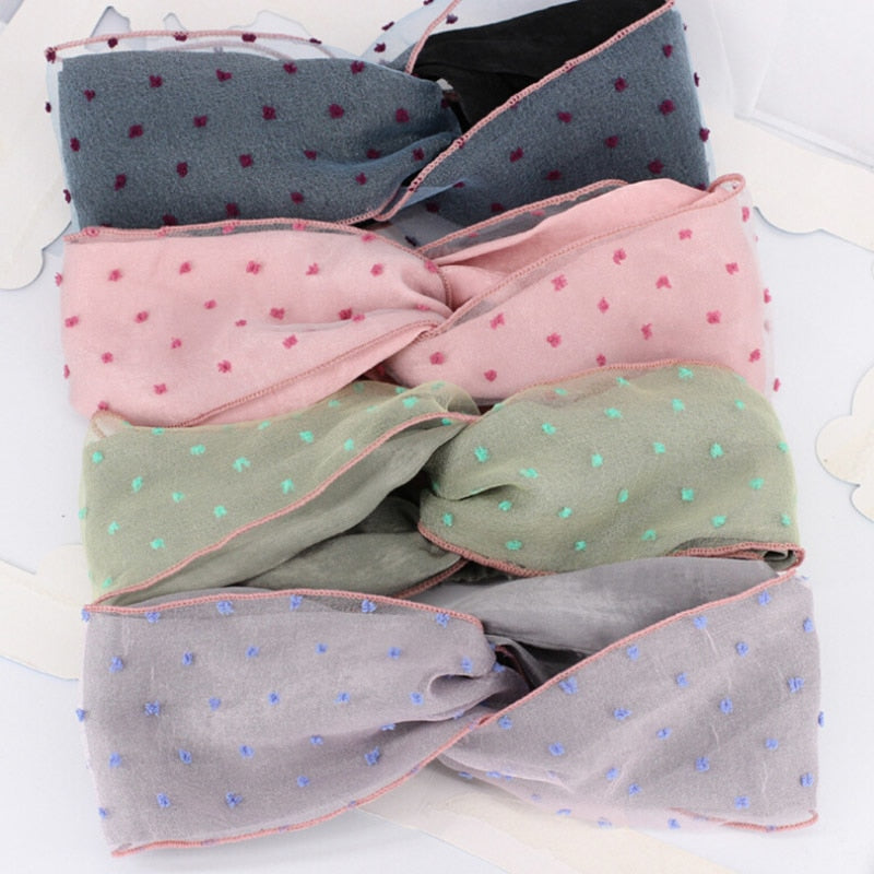 New Style Sweet Women Print Elastic Mesh Knot Soft Knotted Headband Hairband Women Lady Bow Hair Hoop Hair Accessories Headwear