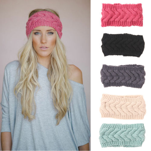 1PC Women Lady Crochet Bow Knot Turban Knitted Head Wrap Hairband Winter Ear Warmer Headband Hair Band Accessories